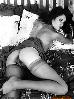 Hairy sexy vintage pin up girls posing in the sixti