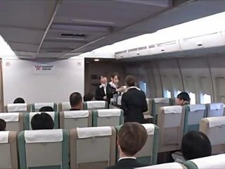 Beautiful japanese models are ready for sex in the airplane photo 4