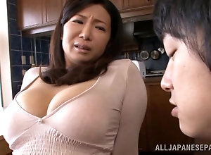Naked busty japanese mom feels exhausted of passion